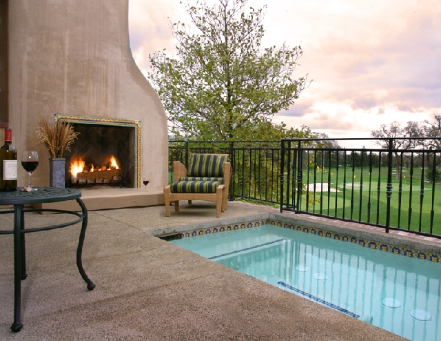 A hot tub overlooking the beautiful golf course at Sonoma Golf Club
