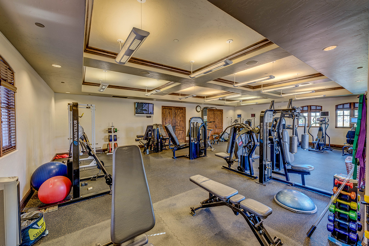 Our gym features everything you need to work up a sweat