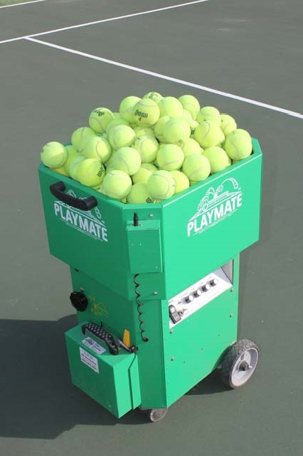 Mobile cart with tennis balls